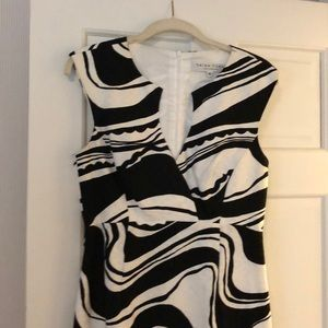 Sleeveless black & white Trina Turk dress